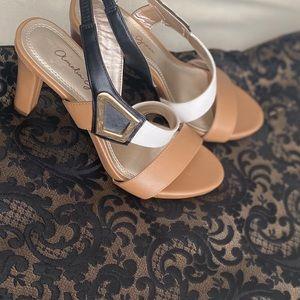 Amelia Grace Black Tan and White Heels